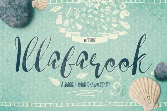 Digital Font Illabarook - Digital Typeface - Hand drawn Script Font - Instant Download