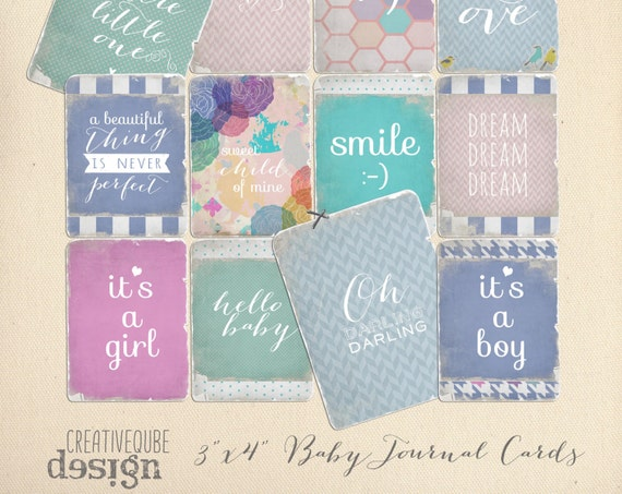 "Shabby and worn 3"" x 4"" Digital Baby Quote Printable Journaling cards for Scrapbook, blogs, Newborn photos"