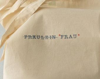 """Jutebeutel aus fair-gehandelter Baumwolle """"Fräulein zu Frau"""" Einkaufstasche, Shopper, Tragetasche für die Braut. Vintage, Typewriter, DIY"""