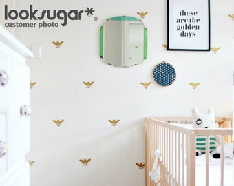 Bee Wall Decals with Wallpaper or Wall Stencil Effect for Honey Bee Baby Nursery , Home , and Office - Bumble Bee Wall Stickers LSWD-0124TF
