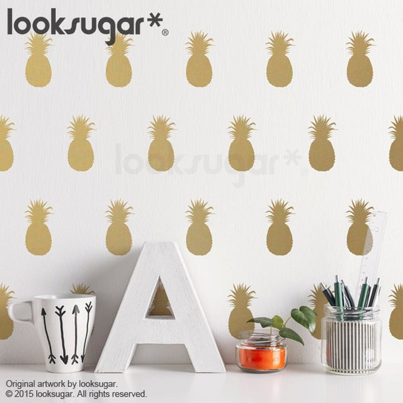 Pineapple Wall Decal Gold With Wallpaper Or