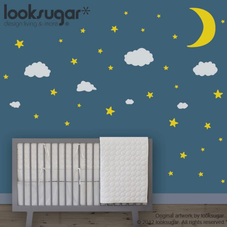 baby nursery wall decals moon stars clouds children wall | etsy
