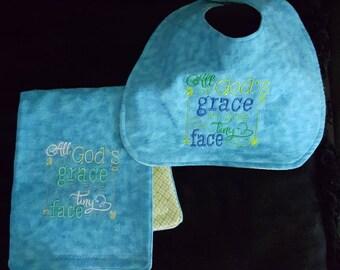 Baby burp cloth and bib set