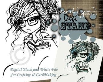 PRINTABLE Digi Stamp Librarian Girl Tattoo Coloring Page Fun Fantasy Art Hannah Lynn