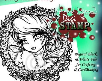 PRINTABLE Holly Wreath Fairy Christmas Digi Stamp Coloring Page Fantasy Art Hannah Lynn