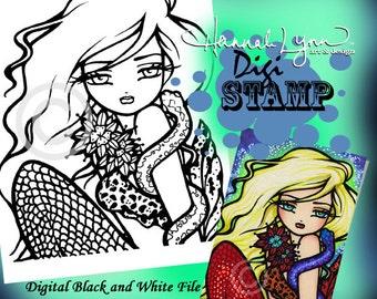 PRINTABLE Digi Stamp Snake Kyra Mermaid Coloring Page Fun Fantasy Art Hannah Lynn