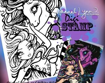 PRINTABLE Digi Stamp Pegasus Cosmic Star Coloring Page Fun Fantasy Art Hannah Lynn