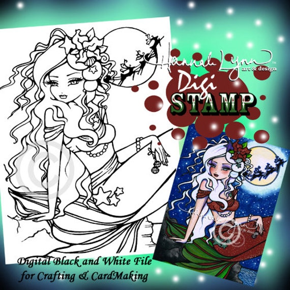 PRINTABLE Christmas Eve Mermaid Digi Stamp Coloring Page | Etsy