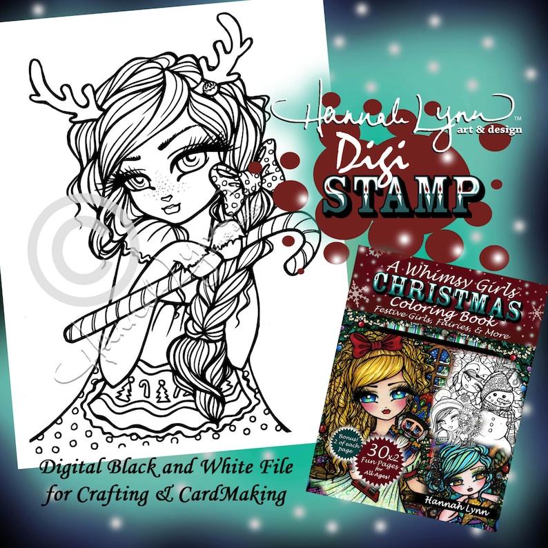 PRINTABLE Digi Stamp Reindeer Girl Whimsy Girls Christmas | Etsy