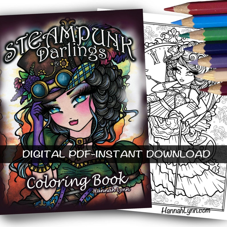 pdf digital steampunk darlings coloring book hannah lynn | etsy