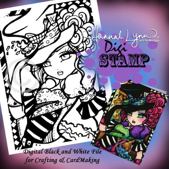 Printable Digi Stamp Mad Hatter Coloring Page Fun Fantasy Art Etsy