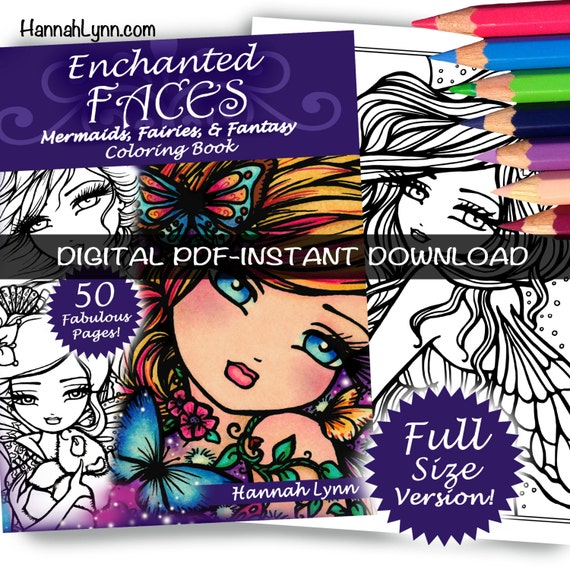 PDF DIGITAL Printable Coloring Book Enchanted Faces All Ages