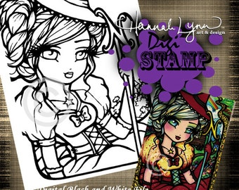 PRINTABLE Digi Stamp Good Witch Wizard of OZ Coloring Page Fun Fantasy Art Hannah Lynn
