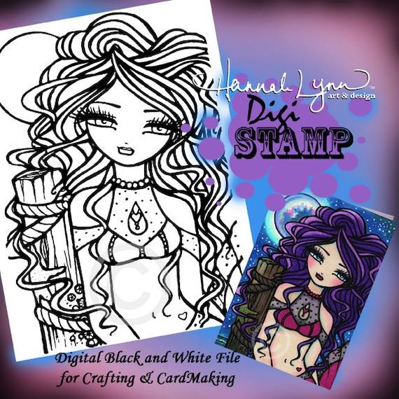 Printable Digi Stamp Luna Sirena Para Colorear Página Divertida Fantasía Art Hannah Lynn