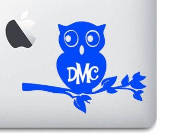 Monogrammed Owl Inspired Vinyl Decal Sticker