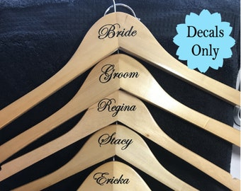 Wedding Hanger Bridal Party Name Vinyl Decal