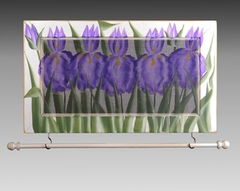 Wall Hanging Earring Holder & Jewelry Organizer includes Necklace Holder. Shabby Chic Jewelry Display. Iris Design on Hand Painted Screen.