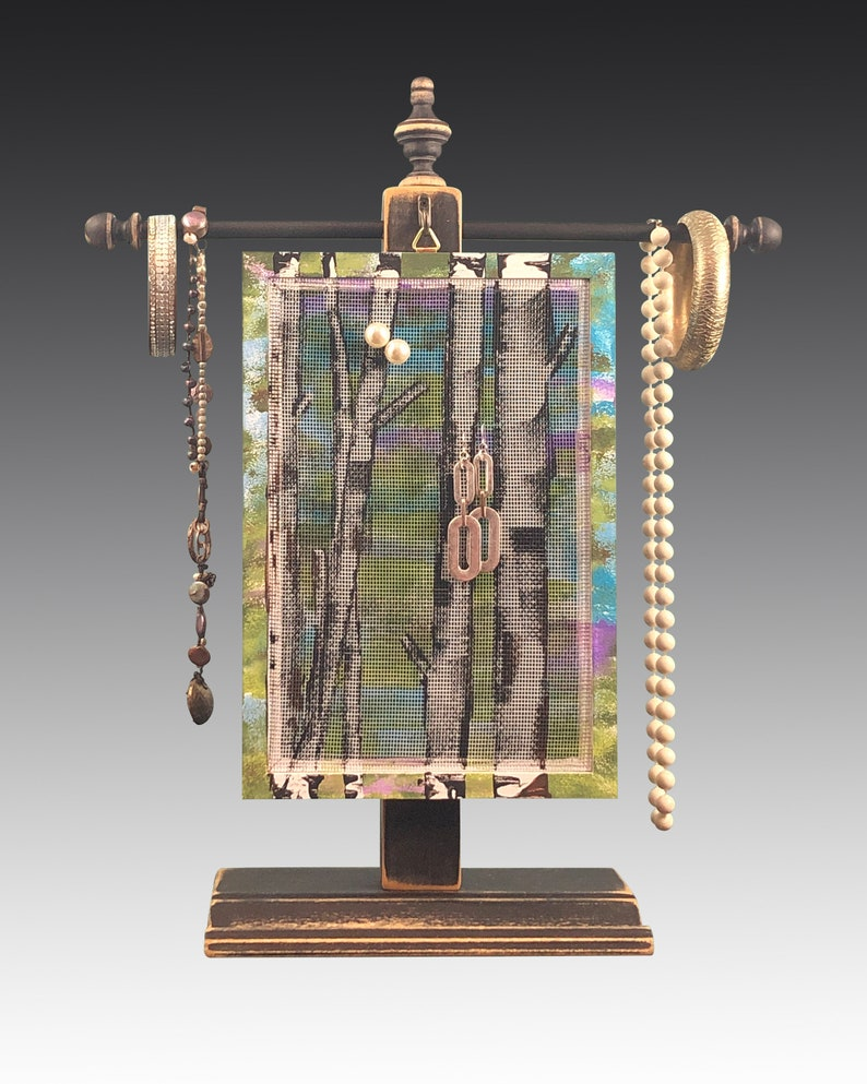 Hanging Earring Display Hand Painted JOY Design Necklace Holder Wood Frame Jewelry Organizer Shabby Chic Earring Holder