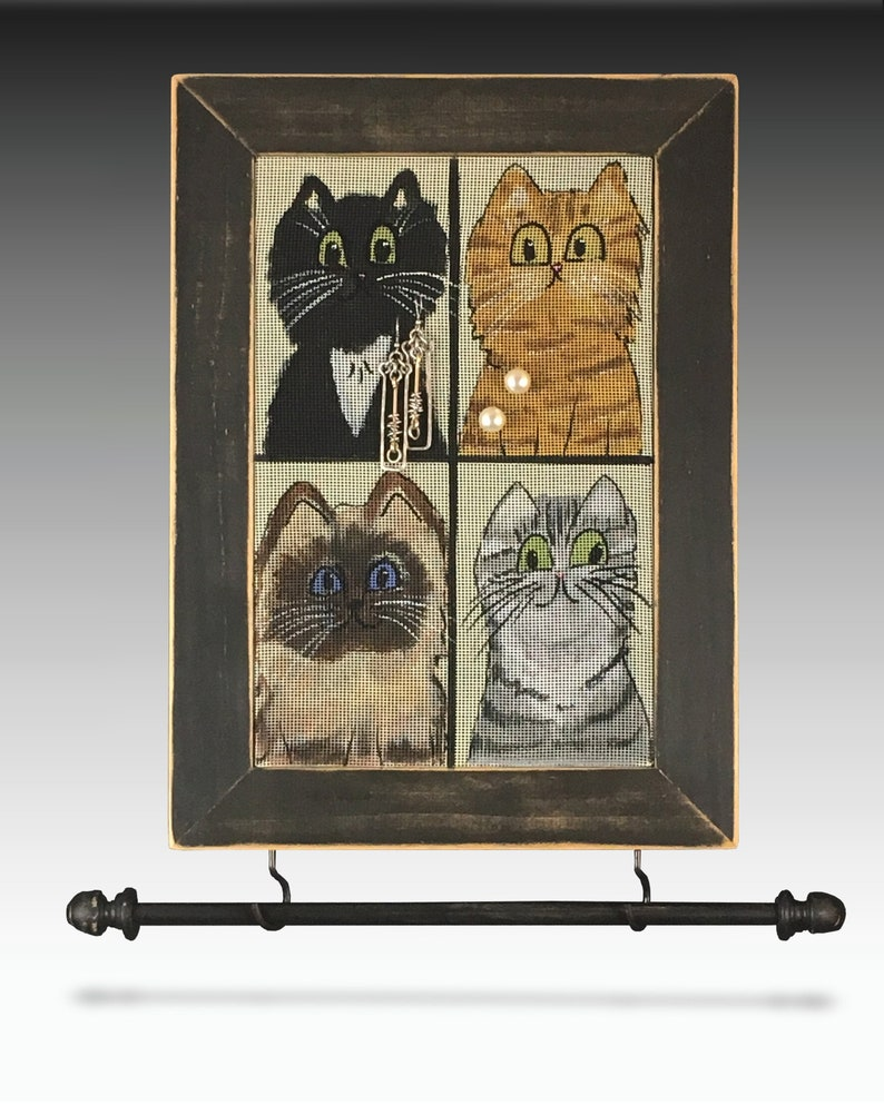 Wall Mounted Jewelry Organizer Shabby Chic Earring Holder Hand Painted Cat Design Wood Frame Necklace Holder Mesh Earring Organizer