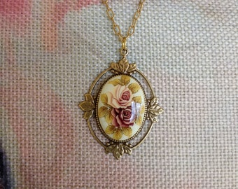 Ceramic Rose on Brass Pendant
