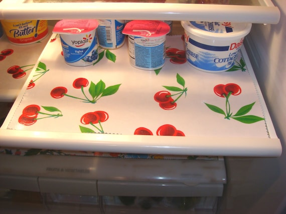 Fridge Shelf Liners Extraordinary Custom Oilcloth Reversible Refrigerator Shelf Liners Etsy