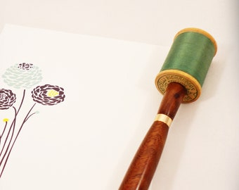 Spool of Thread Ink Pen in Walnut and Teal Green
