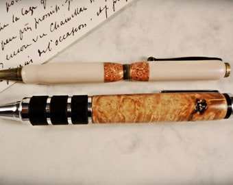 Oversized Click Pen made from Curly Maple wood -- a nice gift idea for him