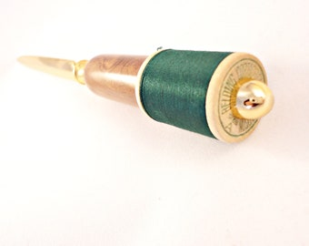 Letter Opener - Olive Wood with Forest Green Vintage Spool of Thread