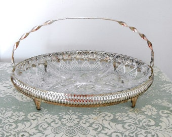 Vintage Silver Metal Basket with Divided Glass Relish or Condiment Dish, Made in France - Metal and Glass Serving Basket - Holiday Server