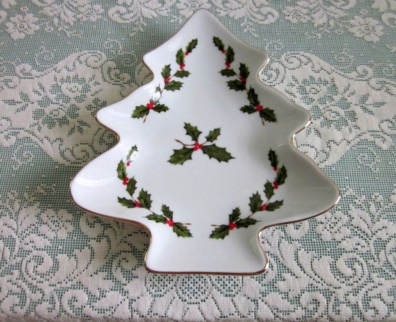 Vintage Lefton China Christmas Tree Dish 05246 Holly Tree Candy Dish 1985 Holiday Serving Dish Candy, Cookie Dish Cottage Christmas