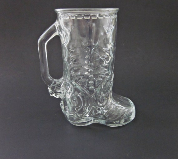 Libby Of Canada Clear Glass Cowboy Boot Mug Man Gift Etsy