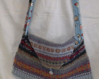 Upcycled Large Felted Wool Sweater Purse with 3 Interior Pockets