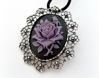 Gothic rose cameo brooch pendant, Purple rose necklace, Victorian gothic jewelry