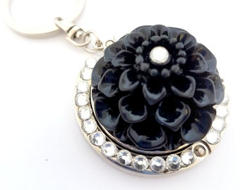 049da54f8ad57e Black Dahlia keychain, dark flower folding purse hook, elegant rhinestone  bag charm