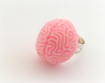 Creepy cute brain ring, pastel goth jewelry, spooky Halloween accessory