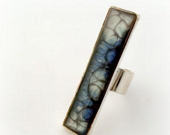 SIlver blue statement ring, long resin ring, dark ocean blue jewelry