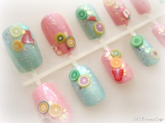 Sweet Pastel Fruit Nails Japanese Nail Art Set Kawaii 3d Etsy
