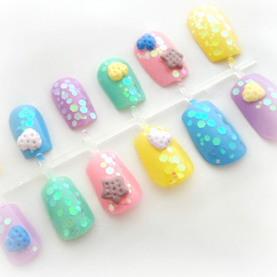 image 0 - Pastel Goth Cookie 3D Kawaii Nails Harajuku Style Nail Art Etsy