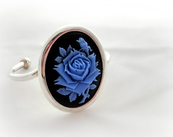 Blue rose gothic cameo bracelet, gothic lolita jewelry, statement jewelry