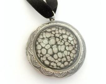 Black victorian gothic locket, black honeycomb pendant, alternative jewelry, gothic gift