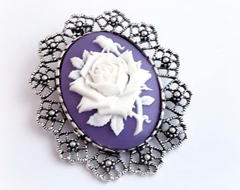 Purple rose cameo brooch pendant, Victorian gothic necklace, Gift for women, Bridesmaid jewelry