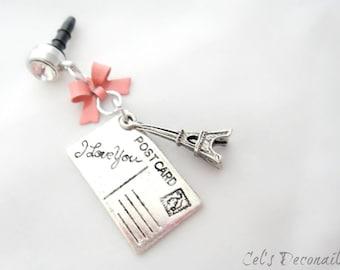 Letters from Paris iPhone dust plug charm, earphone jack charm, Princess phone charm planner charm