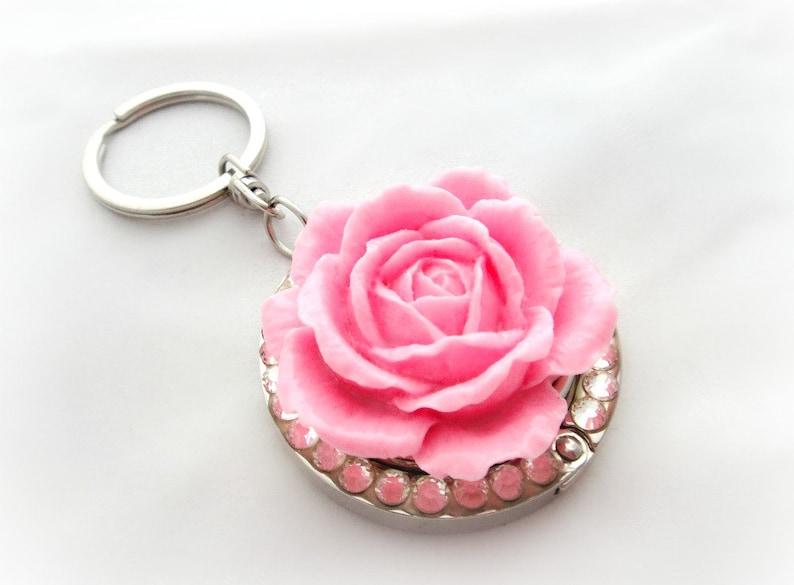 86b34b3e75 Pink rose keychain folding purse hook bag charm by Cel's   Etsy