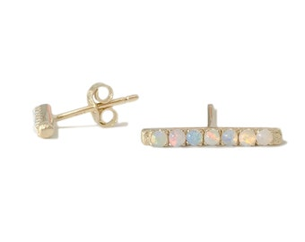 a77a6a0af Opal 14K Solid Gold Rectangle Bar Stud Earring, Large Size (Real Natural  Opal Gems) (Cabochon Pavé Bar Available as Single or Pair of Studs).  NanaBijou