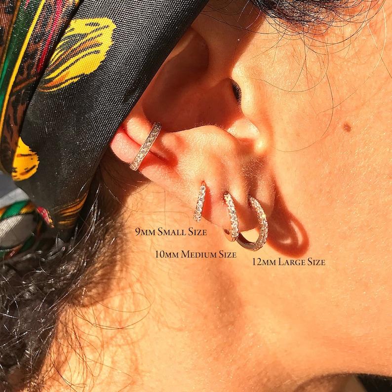 13bd5c64a92f9 Pavé Diamond 14K Solid Gold Huggie Hinged Hoop Earring, 9mm Outer x 6mm  Inner Diameter ~ In Stock! Ready to Ship! (Real Diamond Hoop Huggie)