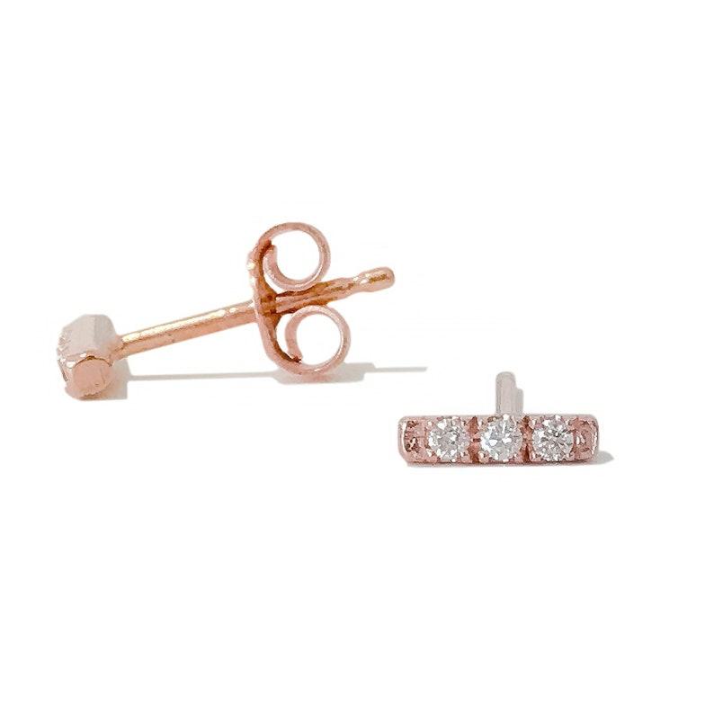 cf7c30bf2 Diamond Pavé & 14K Solid Gold Rectangle Bar Stud Earring XS   Etsy