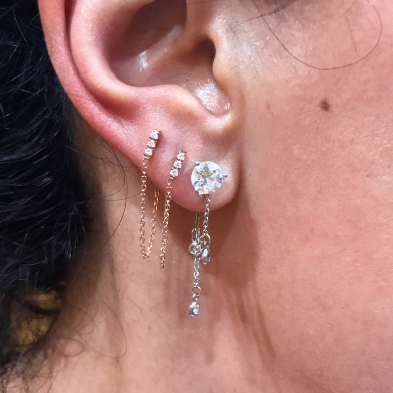 3e069baa8 Diamond 14K Solid Gold XS Bar Dangle Chain Stud Earring   Etsy