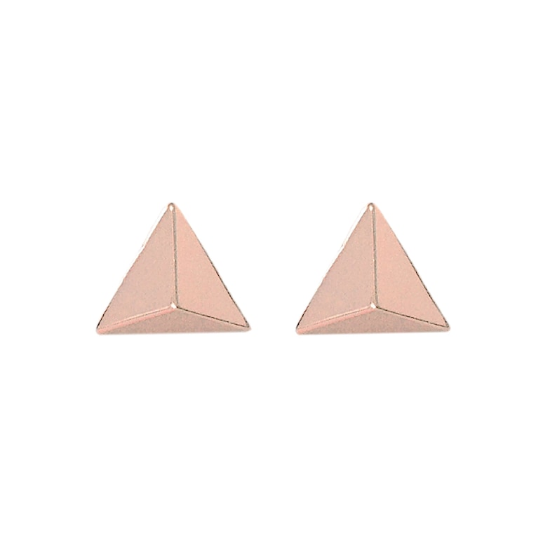 c2cb073ee Triangle Spike 14K Solid Gold Stud Pyramid Earring In Stock | Etsy