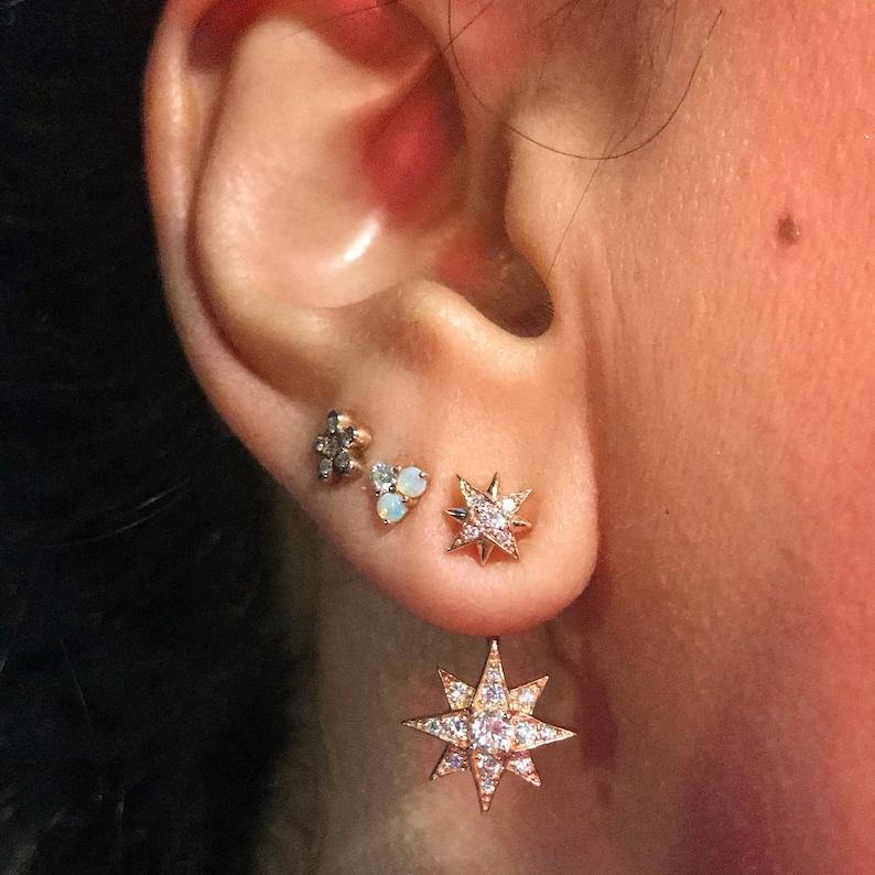 e3f82888b Diamond Starburst Star 14K Solid Gold Stud Earrings & Ear Jacket Set  ~Dainty Dangle Front to Back Style Pavé ...