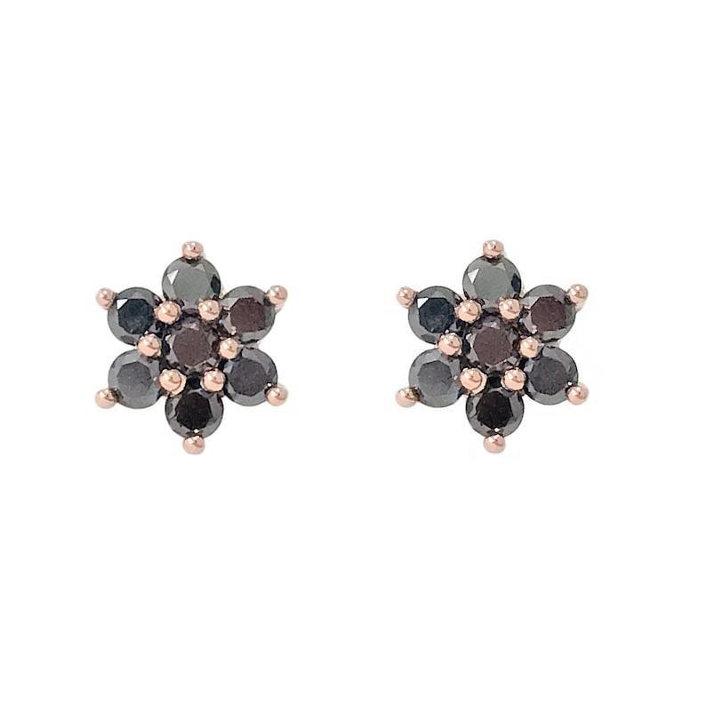 ed8cc2d1d Black Diamond Flower & 14K Solid Gold Rosebud Stud Earrings   Etsy